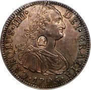 UK Dollar Countermarked 1791-1808 CM Date: ND(1797) KM# 634 CAROLUS∙IIII∙ DEI∙GRATIA∙ ∙1795∙ coin obverse