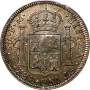 UK Dollar Countermarked 1791-1808 CM Date: ND(1797) KM# 634 ∙HISPAN∙ET IND∙REX∙ OM ∙ 8R ∙F∙M∙ PLUS VLTRA coin reverse