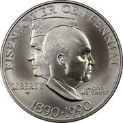 USA Dollar Eisenhower Centennial 1990 W KM# 227 EISENHOWER CENTENNIAL LIBERTY IN GOD WE TRUST 1890 . 1990 coin obverse