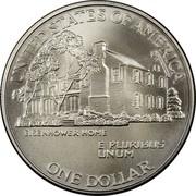 USA Dollar Eisenhower Centennial 1990 W KM# 227 UNITED STATES OF AMERICA EISENHOWER HOME E PLURIBUS UNUM ONE DOLLAR coin reverse