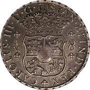 UK Dollar George III 1772-1789 CM Date: ND(1797) KM# 636 CAROLUS∙III∙D∙G∙HISPAN∙ET IND∙REX J M 8 coin reverse