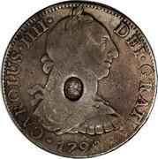 UK Dollar George III 1789-1790 CM Date: ND(1797) KM# 633 CAROLUS∙IIII∙ DEI∙GRATIA∙*YEAR*∙ coin obverse