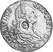 UK Dollar George III Countermarked 1788-1808 CM Date: ND(1797) KM# 640 CAROLUS IIII DEI G coin obverse