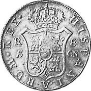 UK Dollar George III Countermarked 1788-1808 CM Date: ND(1797) KM# 640 HISPANIARUM REX R S 8 GN coin reverse