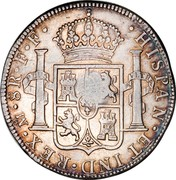 UK Dollar George III Countermarked ND Host Date: 1772-89 KM# 655 HISPAN∙ET IND∙REX∙ MO ∙ 8R ∙F∙F∙ coin reverse