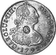 UK Dollar George IIII Countermarked 1791-1808 CM Date: ND(1797) KM# 638 GEORGIUS IIII DEI GRATIA coin obverse