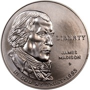 USA Dollar James Madison - Bill of Rights 1993 D KM# 241 LIBERTY IN GOD WE TRUST JAMES MADISON coin obverse