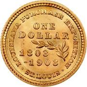 USA Dollar Louisiana Purchase Exposition — McKinley 1903 KM# 120 • LOUISIANA PURCHASE EXPOSITION • ST. LOUIS • 1803-1903 ONE DOLLAR coin reverse