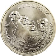 USA Dollar Mount Rushmore 50th Anniversary 1991 P KM# 229 LIBERTY GOLDEN ANNIVERSARY MOUNT RUSHMORE NATIONAL MEMORIAL IN GOD WE TRUST coin obverse