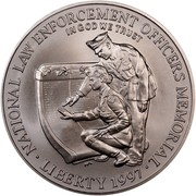 USA Dollar National Law Enforcement Officers Memorial 1997 P KM# 281 ∙ NATIONAL LAW ENFORCEMENT OFFICERS MEMORIAL ∙ LIBERTY 1997 ∙ IN GOD WE TRUST coin obverse