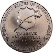 USA Dollar National Law Enforcement Officers Memorial 1997 P KM# 281 UNITED STATES OF AMERICA ONE DOLLAR TO SERVE AND PROTECT E PLURIBUS UNUM coin reverse