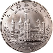 USA Dollar Smithsonian Institution 150th Anniversary 1996 D KM# 276 LIBERTY IN GOD WE TRUST 1846-1996 SMITHSONIAN coin obverse