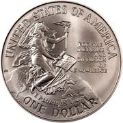 USA Dollar Smithsonian Institution 150th Anniversary 1996 D KM# 276 UNITED STATES OF AMERICA ONE DOLLAR FOR THE INCREASE AND DIFFUSION OF KNOWLEDGE E PLURIBUS UNUM coin reverse