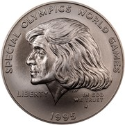USA Dollar Special Olympics World Games 1995 W KM# 266 SPECIAL OLYMPIC WORLD GAMES LIBERTY IN GOD WE TRUST coin obverse