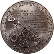 """USA Dollar Special Olympics World Games 1995 W KM# 266 UNITED STATES OF AMERICA E PLURIBUS UNUM ONE DOLLAR """"AS WE HOPE FOR THE BEST IN THEM, HOPE IS REBORN IN US."""" EUNICE KENNEDY SHRIVER, FOUNDER coin reverse"""