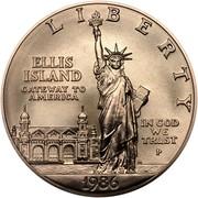 USA Dollar Statue of Liberty Centennial 1986 P KM# 214 LIBERTY ELLIS ISLAND GATEWAY TO AMERICA IN GOD WE TRUST coin obverse