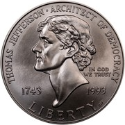USA Dollar Thomas Jefferson 250th birth Anniversary 1993 P KM# 249 THOMAS JEFFERSON ARCHITECT OF DEMOCRACY LIBERTY IN GOD WE TRUST 1743 1993 coin obverse