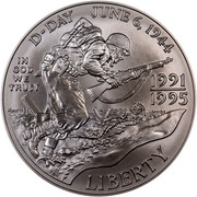 USA Dollar World War II 50th Anniversary 1993 D KM# 244 D-DAY JUNE 6, 1944 IN GOD WE TRUST 1991 1995 LIBERTY coin obverse