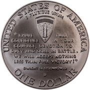"USA Dollar World War II 50th Anniversary 1993 D KM# 244 UNITED STATES OF AMERICA E PLURIBUS UNUM ONE DOLLAR ""I HAVE FULL CONFIDENCE IN YOUR COURAGE, DEVOTION TO DUTY AND SKILL IN BATTLE. WE WILL ACCEPT NOTHING LESS THAN FULL VICTORY!"" DWIGHT D. EISENHOWER coin reverse"