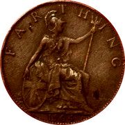 UK Farthing Edward VII 1904 KM# 792 FARTHING *YEAR* coin reverse