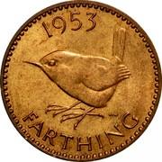 UK Farthing Elizabeth II 1953 Matte Proof KM# 881 1953 FARTHING HWP coin reverse