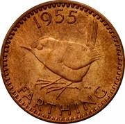 UK Farthing Elizabeth II 1955 Proof KM# 895 *YEAR* FARTHING HWP coin reverse