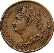 UK Farthing George IV 1826 KM# 677 GEORGIUS IIII DEI GRATIA coin obverse