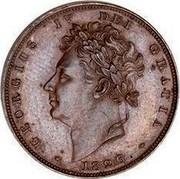 UK Farthing George IV 1826 KM# 697 GEORGIUS IIII DEI GRATIA coin obverse