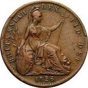UK Farthing George IV 1826 KM# 677 BRITANNIAR. REX: FID: DEF: coin reverse