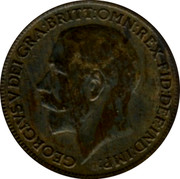 UK Farthing George V 1918 KM# 808.1 GEORGIVS V DEI GRA:BRITT:OMN:REX FID:DEF:IND:IMP: B.M. coin obverse