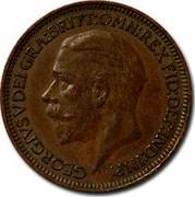 UK Farthing George V 1935 KM# 825 GEORGIUS V DEI GRA:BRITT:OMN:REX FID:DEF:IND:IMP: B.M. coin obverse