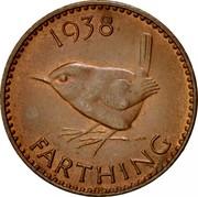 UK Farthing George VI 1938 Proof KM# 843 *YEAR* FARTHING coin reverse