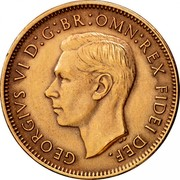 UK Farthing George VI 1950 Proof KM# 867 GEORGIVS VI D:G:BR:OMN:REX FIDEI DEF. HP coin obverse