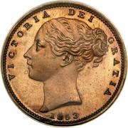 UK Farthing Victoria 1853 Proof KM# 725a VICTORIA DEI GRATIA coin obverse