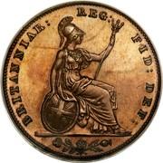 UK Farthing Victoria 1853 Proof KM# 725a BRITANNIAR: REG: FID: DEF: coin reverse