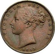 UK Farthing Victoria 1853 WW designer's initials incuse KM# 725 VICTORIA DEI GRATIA coin obverse