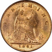 UK Farthing Victoria 1881 Three berries in wreath KM# 753 FARTHING coin reverse