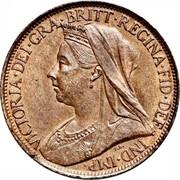 UK Farthing Victoria 1895 KM# 788.1 VICTORIA ∙ DEI ∙ GRA ∙ BRITT ∙ REGINA ∙ FID coin obverse