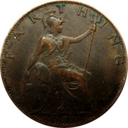 UK Farthing Victoria 1897 Mintage included with KM#788.1 KM# 788.2 FARTHING coin reverse