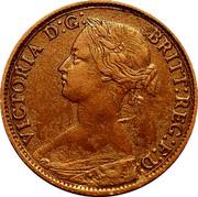 UK Farthing Victoria Beaded border 1860 KM# 747.1 VICTORIA D:G: BRITT:REG:F:D: coin obverse