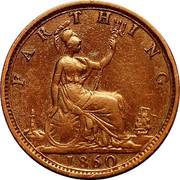 UK Farthing Victoria Beaded border 1860 KM# 747.1 FARTHING coin reverse