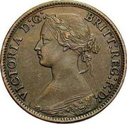 UK Farthing Victoria toothed border 1869 KM# 747.2 VICTORIA D:G: BRIT: REG: F:D: coin obverse