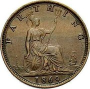 UK Farthing Victoria toothed border 1869 KM# 747.2 FARTHING coin reverse