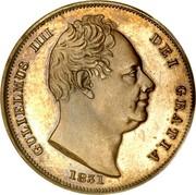 UK Farthing William IV 1831 KM# 705 GEORGIUS IIII DEI GRATIA coin obverse