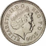 UK Five Pence Elizabeth II 2006 Proof KM# 988 ELIZABETH∙II∙D∙G REG∙F∙D∙1998 IRB coin obverse
