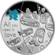 UK Five Pounds Music 2010 British Royal Mint Proof KM# 1149 ALL YOU NEED IS LOVE coin reverse