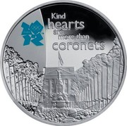 UK Five Pounds Pageantry 2010 British Royal Mint Proof KM# 1148 KIND HEARTS ARE MORE THAN CORONETS coin reverse