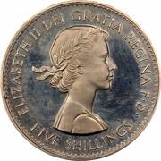 UK Five Shillings British Exhibition in New York 1960 Proof like KM# 909 ELIZABETH II DEI GRATIA REGINA F∙D∙ FIVE SHILLINGS coin obverse