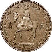 UK Five Shillings Coronation Queen Elizabeth II 1953 Matte Proof KM# 894 ELIZABETH∙II∙DEI∙GRATIA∙BRITT OMN∙REGINA∙FIDEI∙DEFENSOR EIIR EIIR GL FIVE SHILLINGS coin obverse