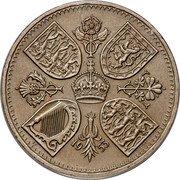 UK Five Shillings Coronation Queen Elizabeth II 1953 Matte Proof KM# 894 19 53 EF CT coin reverse